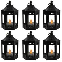 6pc Mini Black LED Candle Lanterns