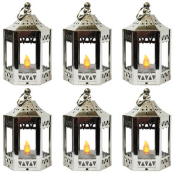 6pc Mini Silver LED Candle Lanterns