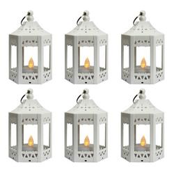 6pc Mini White LED Candle Lanterns